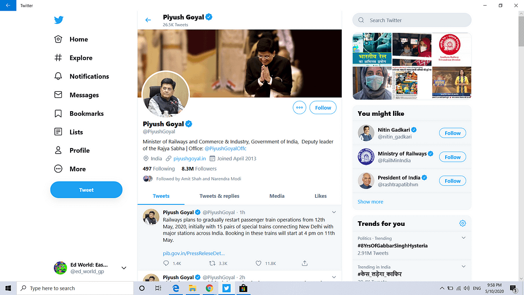 Piyush Goyal Tweet on 10 May 2020